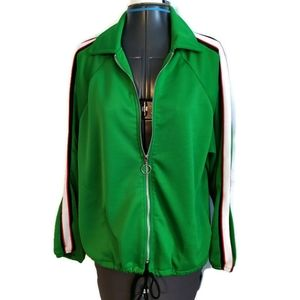 Topshop Zip Jacket M Kelly Green Arm Stripe 8 10